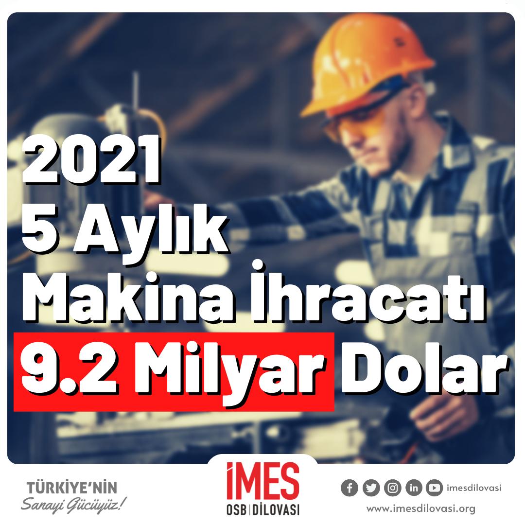 2021 Mayıs Ayı Makine İhracatı 9.2 Milyar Dolar Oldu